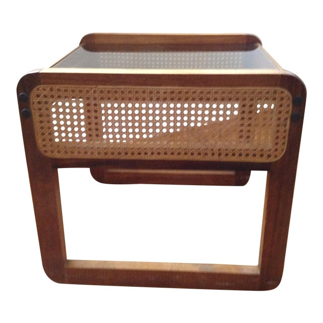 Teak and Rattan Side Table - Image 1 of 8