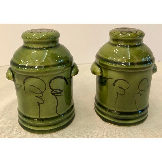 Vintage Green California Pottery Salt & Pepper Set For Sale - Image 4 of 8