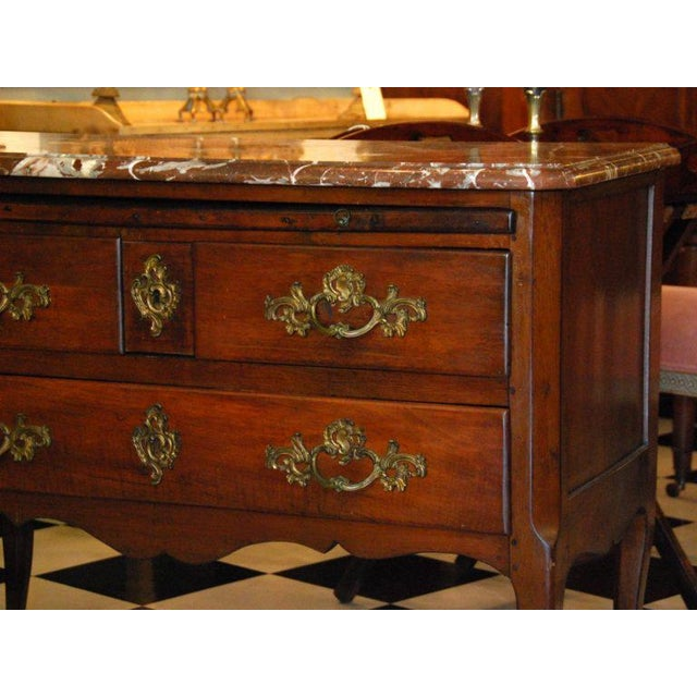 18th Century French Walnut Marble Top Commode For Sale - Image 6 of 8