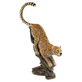 "Design Toscano ""Cheetah on a Tree"" Hand Painted Lifesize Resin Sculpture"