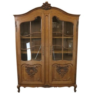 Bookcase Louis XV Vintage French Rococo 1950 Oak For Sale