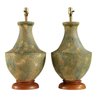 Lg Mid Century Lava Glaze Lamps by Alvino Bagni, a Pair For Sale