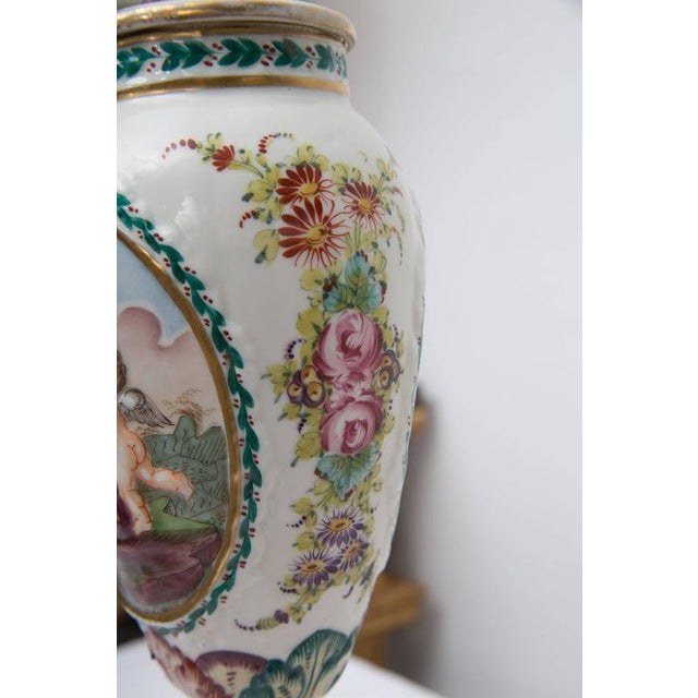 White 19th Century Pair of Italian Porcelain Capodimonte Vases as Table Lamps For Sale - Image 8 of 8