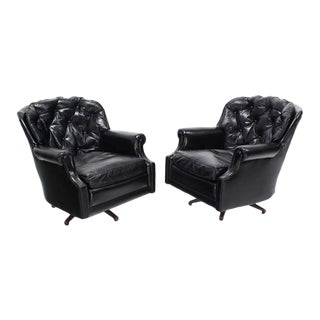 Vintage Mid Century Shiny Black Leather Swivel Barrel Back Lounge Chairs- a Pair For Sale