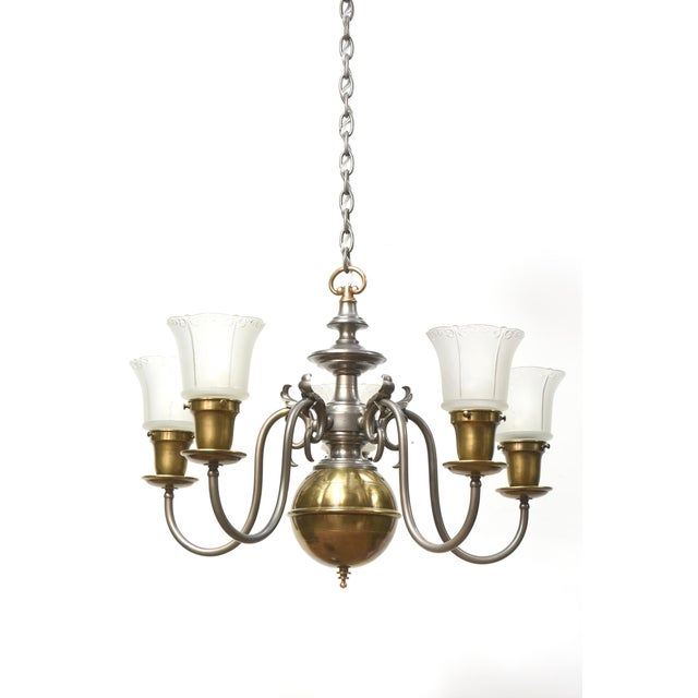 Traditional Five Light Pewter and Brass Colonial Revival Chandelier For Sale - Image 3 of 12
