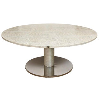 Italian Fendi Round Crocodile Metallic Leather and Stainless Steel Dining Table For Sale