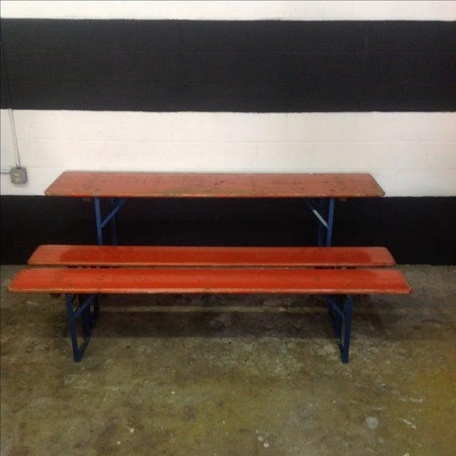 Orange Orange German Beer Garden Table & Benches For Sale - Image 8 of 8