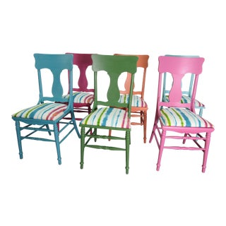 1960s Vintage Colorful Dining Chairs- Set of 6 For Sale