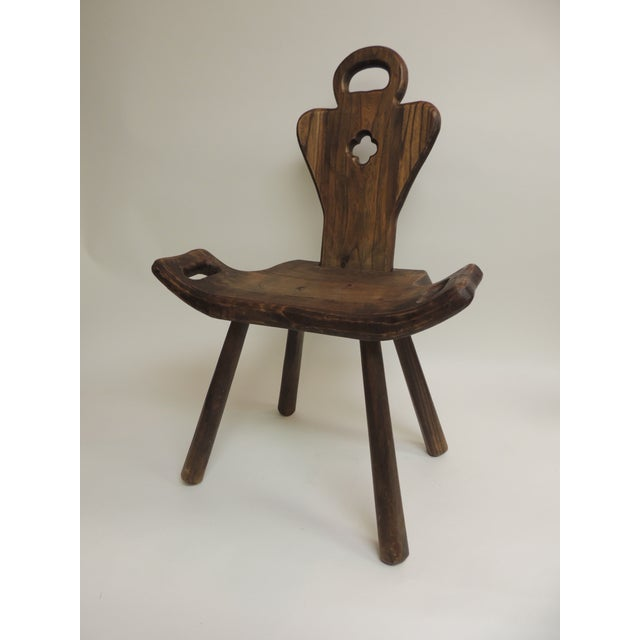 Wood Vintage Primitive Rustic Belgian Artisanal Birthing Chair With Four Legs For Sale - Image 7 of 7