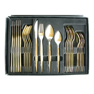 Modern Guttlem Germany Gold Brushed Stainless Steel Flatware Set - 24 Pieces For Sale