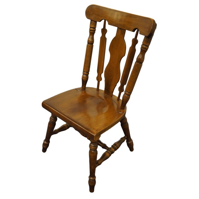 Temple Stuart Solid Hard Rock Maple Colonial Style Splat Back Dining Side Chair 814 For Sale - Image 11 of 11