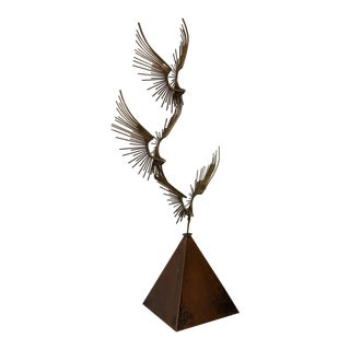 "Curtis Jere ""Birds in Flight"" Bronze & Copper Sculpture C.1976 For Sale"