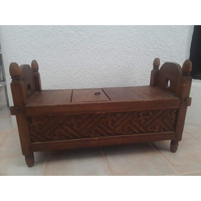 Brown Indonesian Jodang Teak Wood Table For Sale - Image 8 of 8
