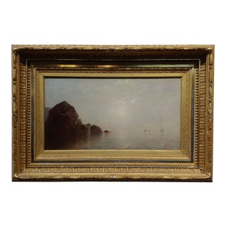19th Century Oil Painting by John Bunyan Bristol - Fog Over Long Island Ny For Sale