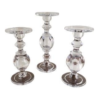 William Sonoma Glass Baluster Pillar Candle Candlesticks - Set of 3 For Sale