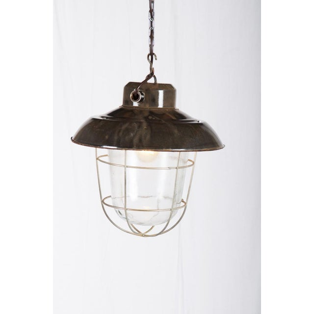 Industrial vintage factory hanging lamp For Sale - Image 9 of 9