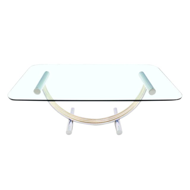 Thick Glass Top Dining Conference Table in Romeo Rega Style For Sale