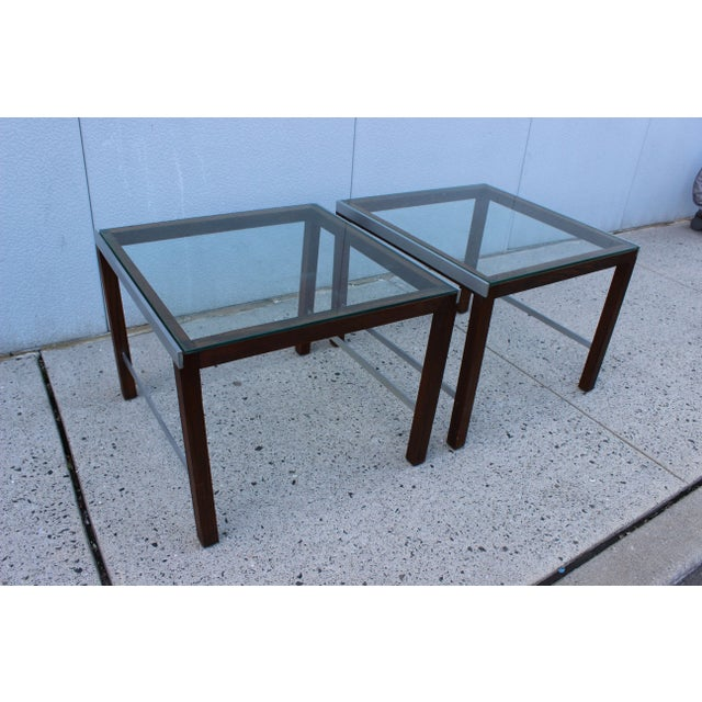 1970's Modern Chrome and Walnut Side Table For Sale - Image 4 of 8