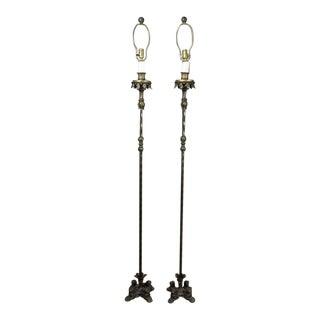 Pair of Renaissance Revival Cast Iron and Bronze Floor Lamps
