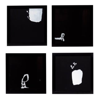 21st Century '4' Framed White on Black Paintings by Greg Dickerson For Sale