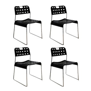 Set of Four Cool 'Omstack' Perforated Metal Chairs by Rodney Kinsman For Sale
