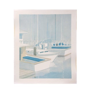 Late 20th Century Coastal Modern Sailboat Art Print by Robert White Watercolor Print For Sale