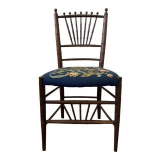 Vintage Needlepoint Chinoiserie Chair For Sale