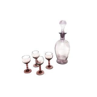 Vintage Mid Century Hand Blown Purple Glass Decanter Drinking Set For Sale
