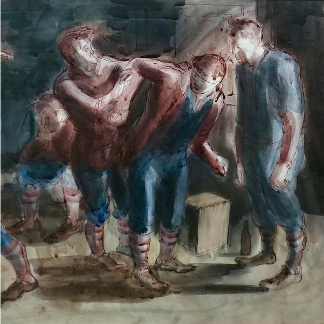 Carl Hugo Beetz- Taking the Baseball Field - Mix Media Painting- c1939 For Sale In Los Angeles - Image 6 of 10