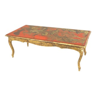 Red Lacquered and Giltwood Coffee Table For Sale