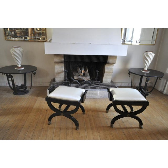 1920s Maison Jansen Superb Pair of X Black Stool With Lion Legs For Sale - Image 5 of 7