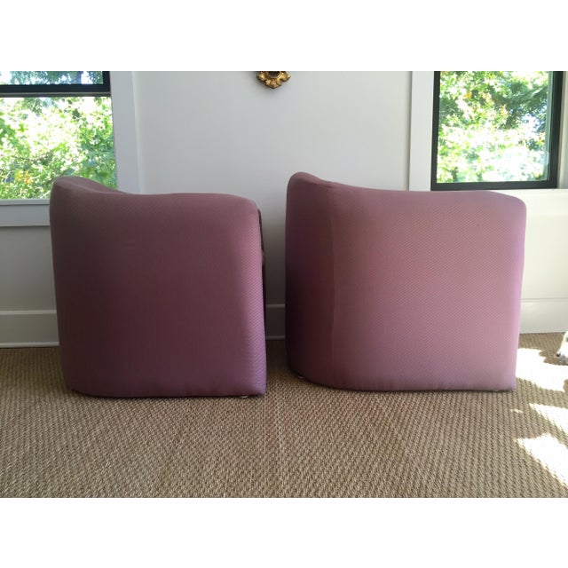 Carter Sculptural Mauve Lounge Chairs - A Pair - Image 5 of 7