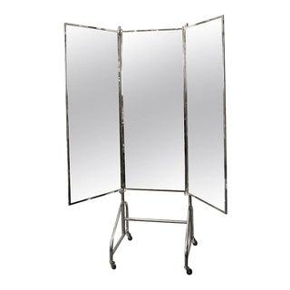 Vintage French Stamped Siegel Tri Panel Standing Mirror