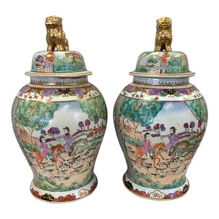 Large Chinese Urns Ginger Jars With Hunt Scene - a Pair For Sale