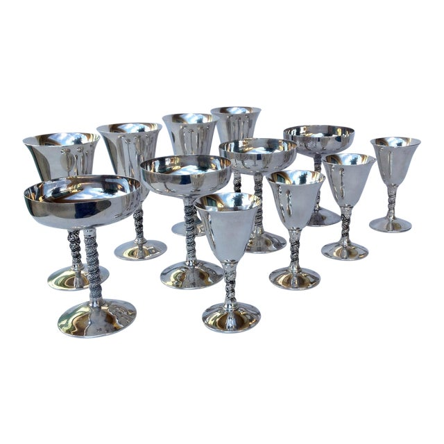 "Vintage Silver Plate Spanish ""Valerio"" Drinks Server Ware- Set of 12 For Sale"