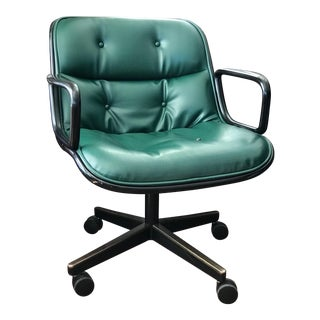1963 Original Knoll Charles Pollock Green Leather Executive Chair For Sale