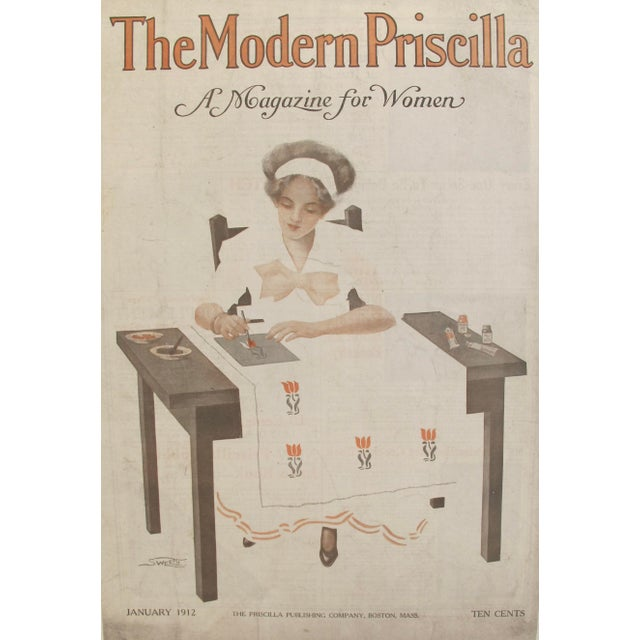 Art Nouveau Original 1912 American Poster Modern Priscilla Crafting Cover For Sale - Image 3 of 6