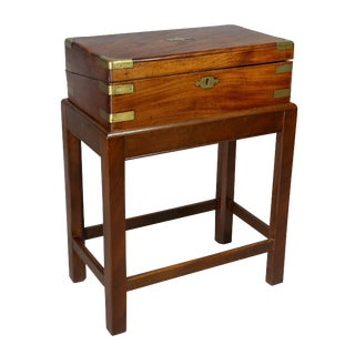 Irish Georgian Mahogany and Brass Mounted Lap Desk on Base For Sale