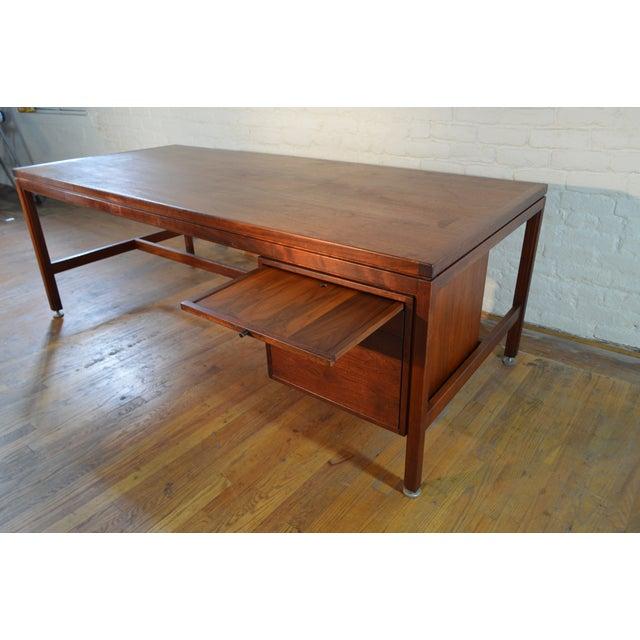Metal Jens Risom Designs Walnut Executive/Partner's Desk For Sale - Image 7 of 7