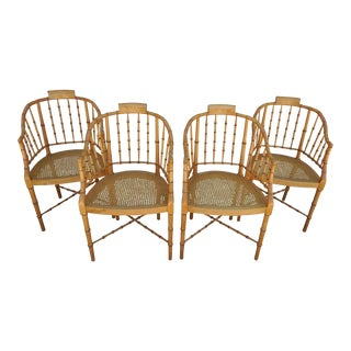 1960s Regency Baker Furniture Bamboo Chairs - Set of 4 For Sale