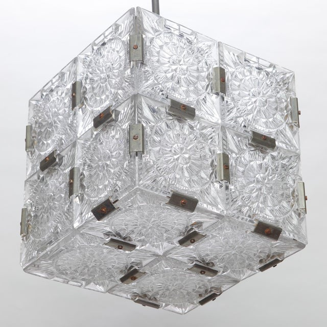 Silver Mid Century Kalmar Glass Cube Pendant Light For Sale - Image 8 of 8