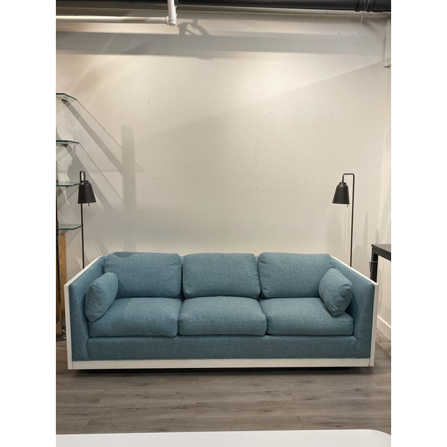 Blue Milo Baughman Sofa Newly Upholstered Blue Fabric W/ New White Lacquer For Sale - Image 8 of 8