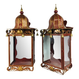 1960s Vintage Chinoiserie Toile Ware Wall Sconces - a Pair For Sale