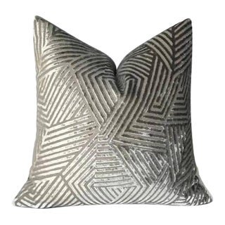 Grey Maze Velvet Pillow Cover