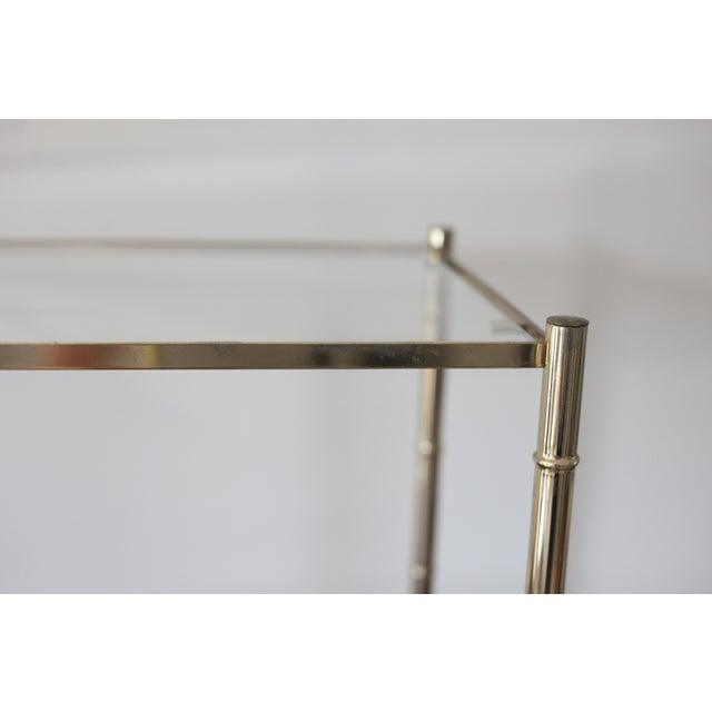 Vintage Brass Faux Bamboo Side Table - Image 5 of 7