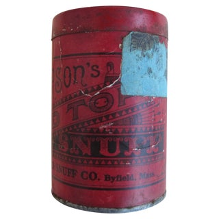 Vintage Red Top Snuff Tin With Tax Stamp For Sale