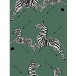 Scalamandre Zebras, Serengeti Green Wallpaper