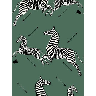 Scalamandre Zebras, Serengeti Green Wallpaper For Sale
