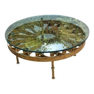 Vintage Gilt Iron Coffee Table For Sale