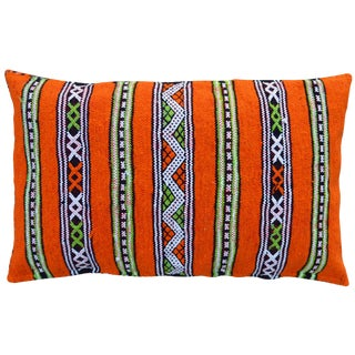 Late 20th Century Orange Striped Moroccan Berber Pillow For Sale